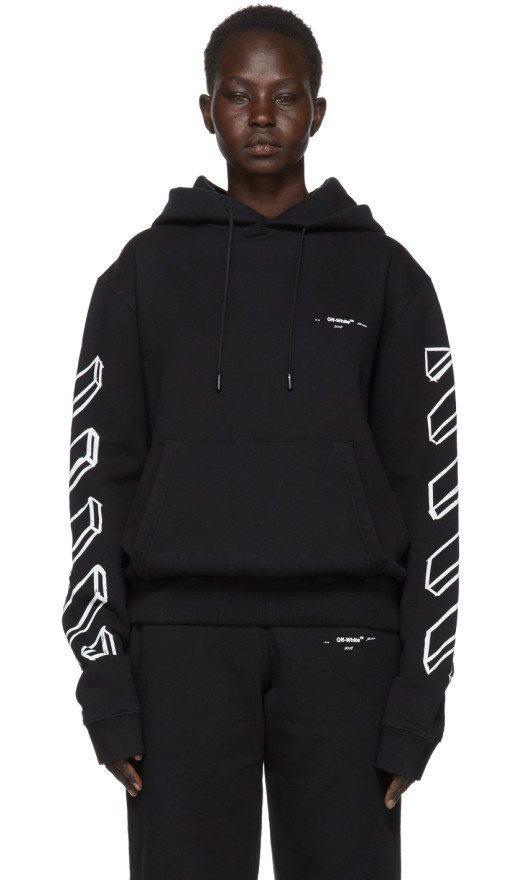 Off-White - Black Diagonal Arrows Logo Hoodie