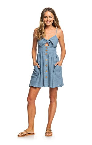 Product 1 - Under The Cali Sun Knot-Front Strappy Dress - Blue