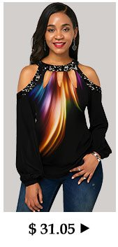 Sequin Embellished Cold Shoulder Printed T Shirt