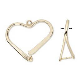 Bail, ice-pick, gold-plated brass, 26x24mm heart, 15.5mm grip length. Sold per pkg of 10.
