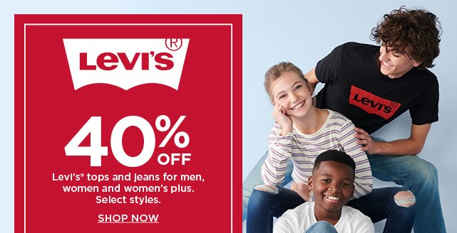40% off levis tops and bottoms for men, women and womens plus. shop now.