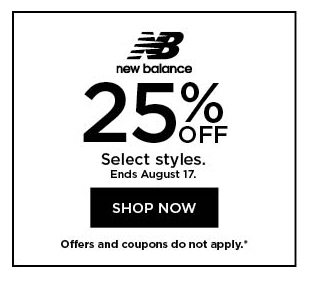 25% off New Balance. Select styles. Offers and coupons do not apply. Shop now