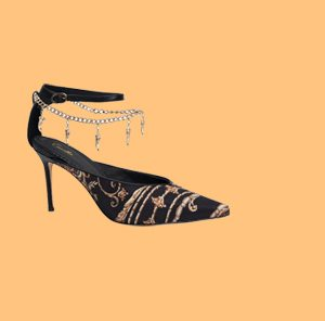 BLACK AND GOLD HEEL WITH ANKLET STUDIO 54