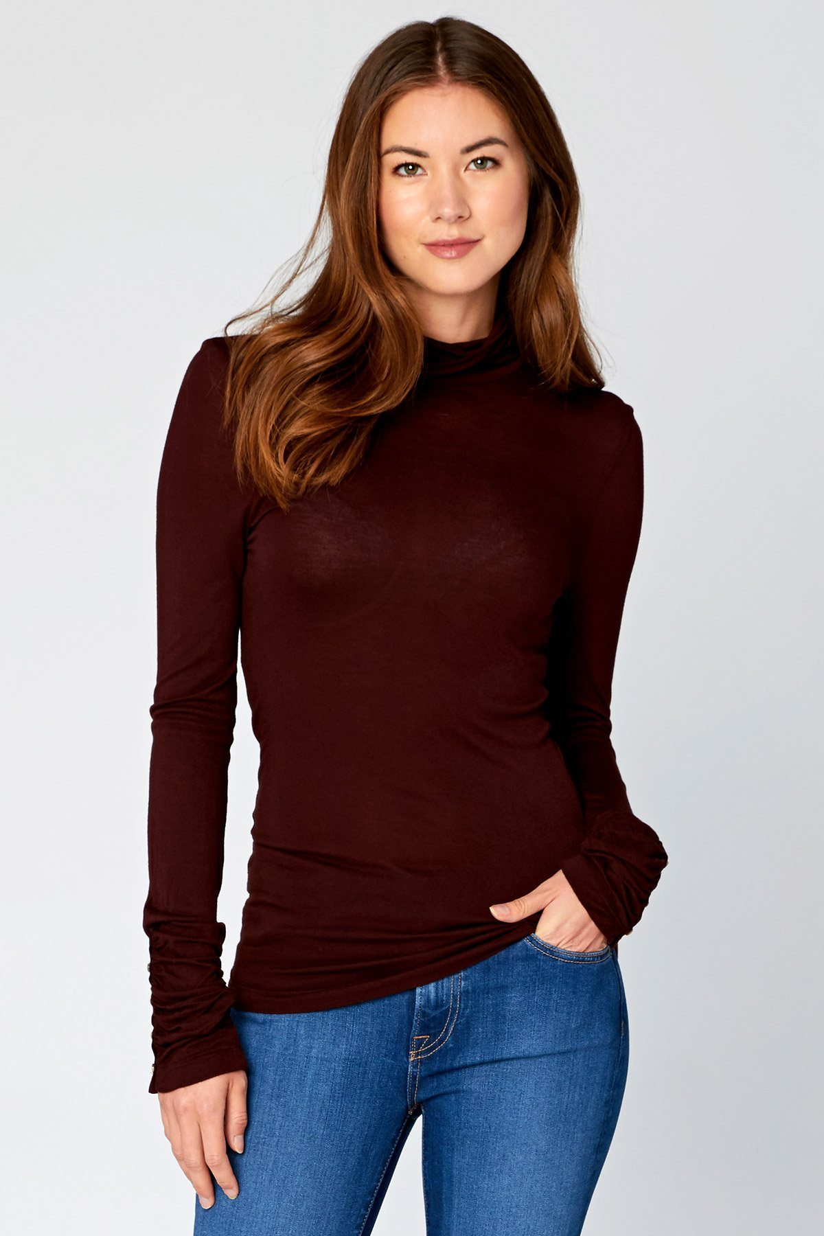 Image of Button Cuff Turtleneck