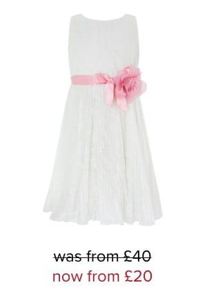 KEITA PLEATED LACE DRESS WITH RIBBON
