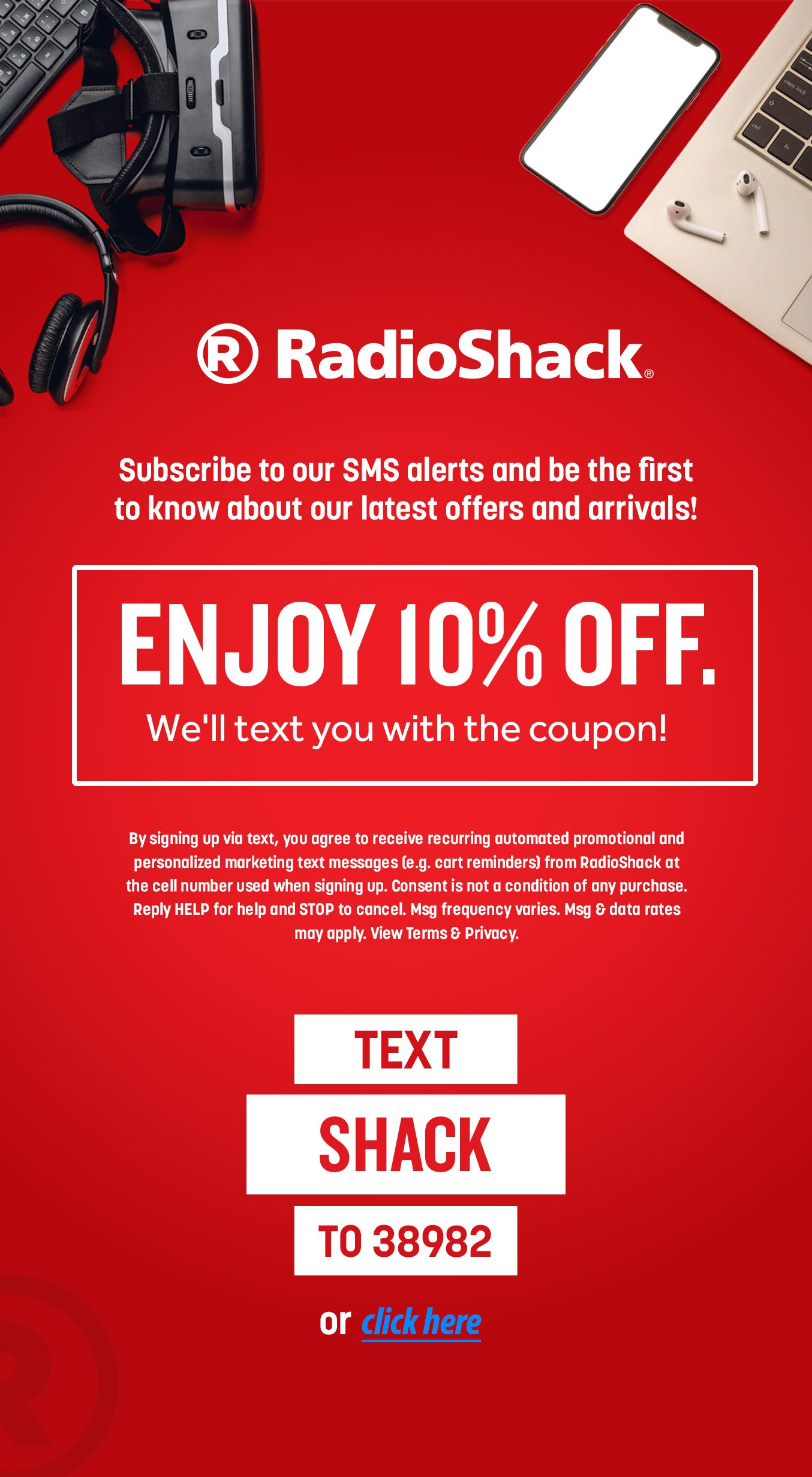 TEXT SHACK TO 38982