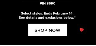 save an extra 20% off fine and silver jewelry. use promo code SHINE20 at checkout. select styles. ends february 14. see details and exclusions below.