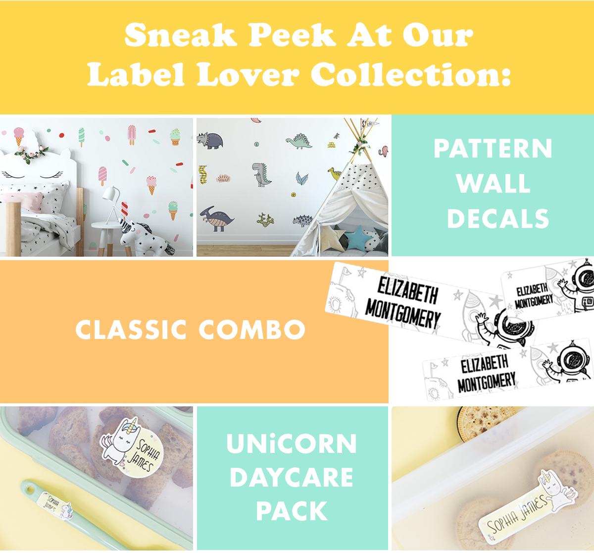 Label Lovers Collection: Pattern Wall Decals, Classic Combo and Unicorn Daycare Labels