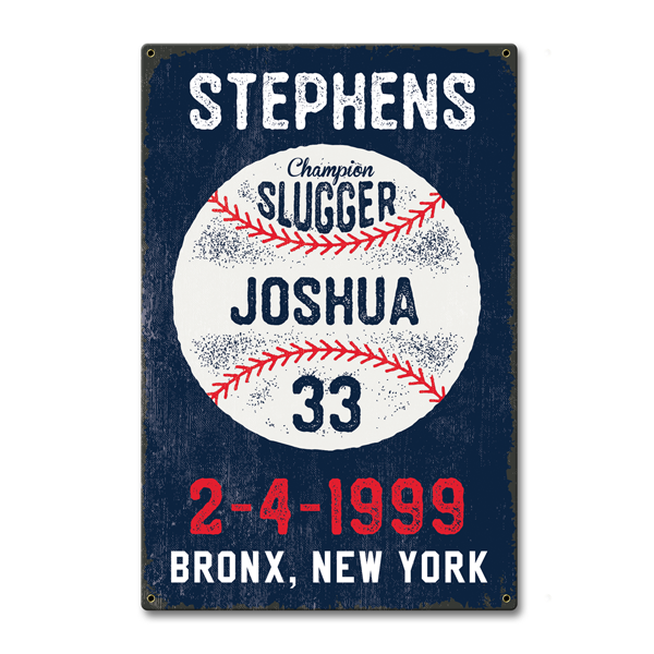 Image of Personalized Baseball Stats Sign