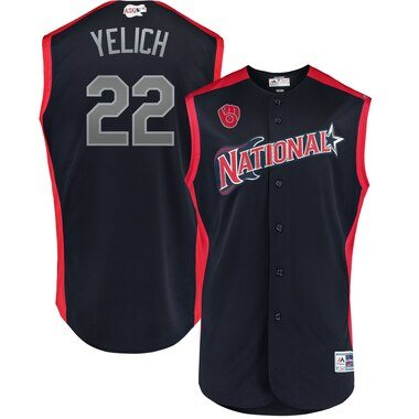 Christian Yelich National League Majestic 2019 MLB All-Star Game Workout Player Jersey - Navy