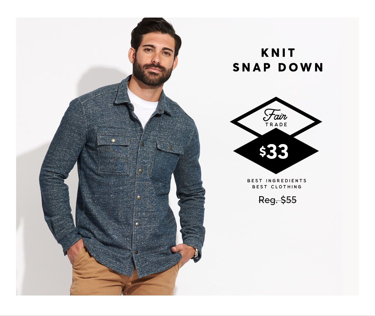 Knit Snap Down, regular $55, now $33