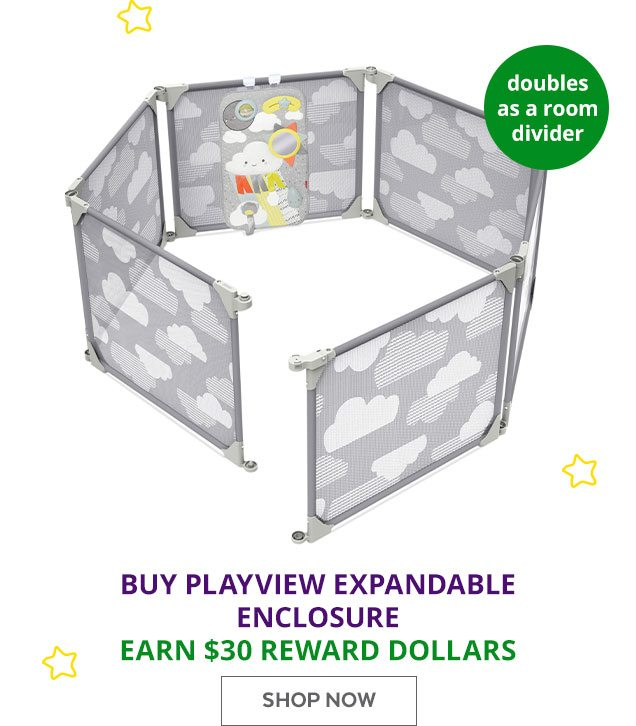 doubles as a room divider | Buy playview expandable enclosure earn $30 rewards dollars | Shop Now