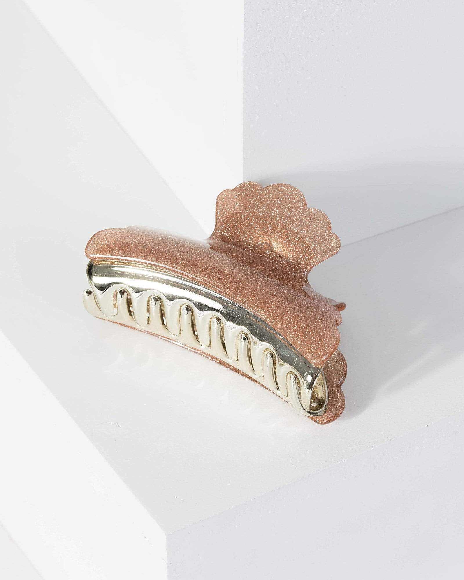 Image of Rose Gold Frill Detail Glitter Claw Hair Clip