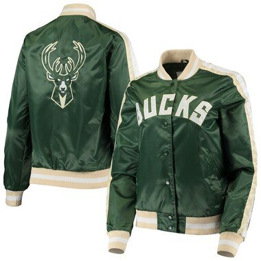 Milwaukee Bucks Starter Women's Competition Satin Full-Snap Jacket - Hunter Green
