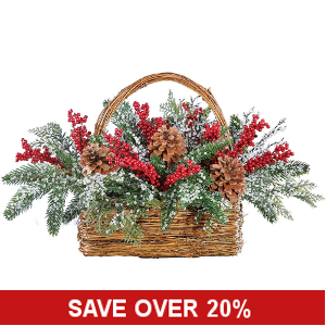 Winter Berries and Frosted Pines Basket