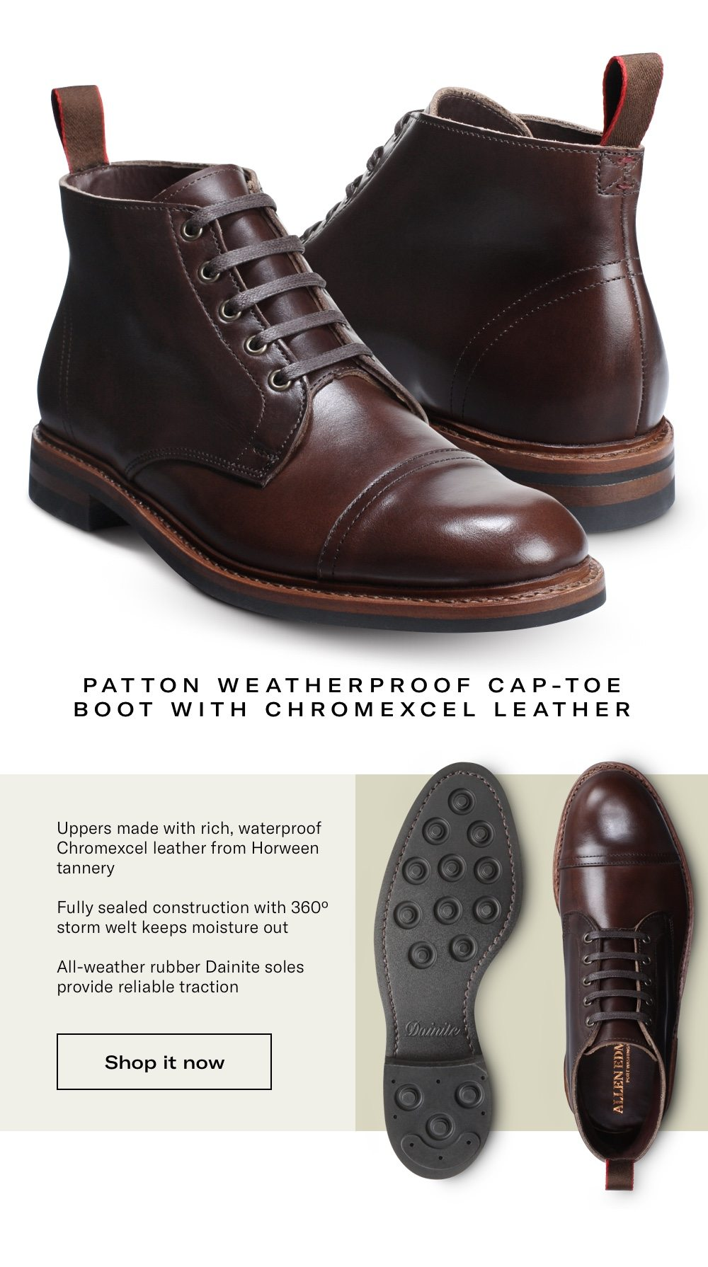 Patton Weatherproof Cap-Toe Boot with Chromexcel Leather