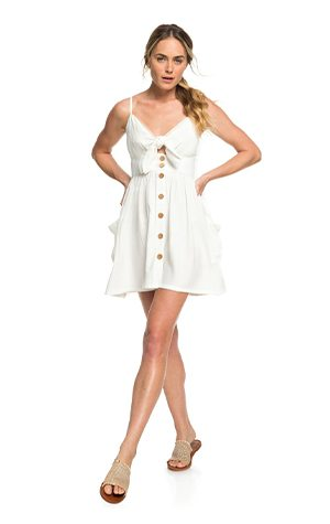 Product 2 - Under The Cali Sun Knot-Front Strappy Dress - Marshmallow