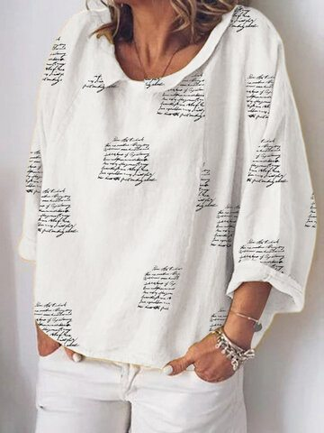Letters Printed O-neck Blouse