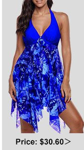 Royal Blue Asymmetric Hem Halter Swimdress and Panty