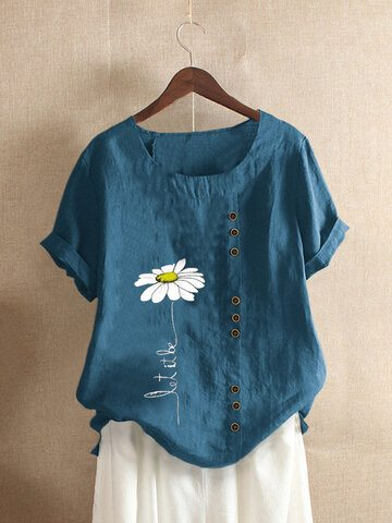 Daisy Floral Printed Crew Neck T-shirt