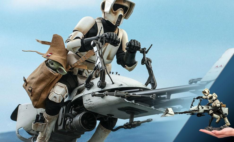 NOW SHIPPING Scout Trooper and Speeder Bike Sixth Scale Figure Set by Hot Toys