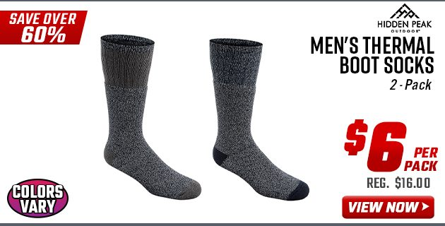 Hidden Peak Outdoors Men's Thermal Boot Socks - 2-Pack