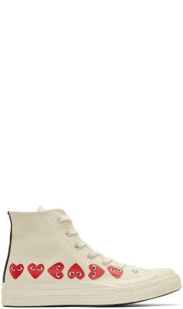 Comme des Garçons Play - Off-White Converse Edition Multiple Heart Chuck 70 High Sneakers