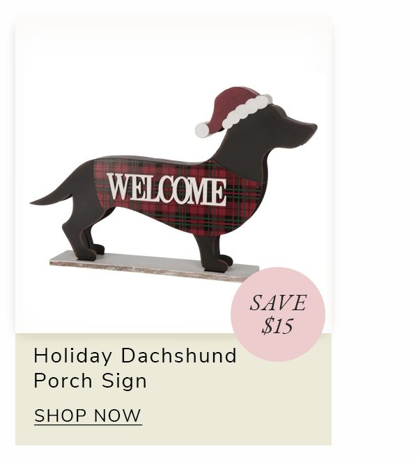 Holiday Dachshund Dog Reversible Porch Sign | SHOP NOW