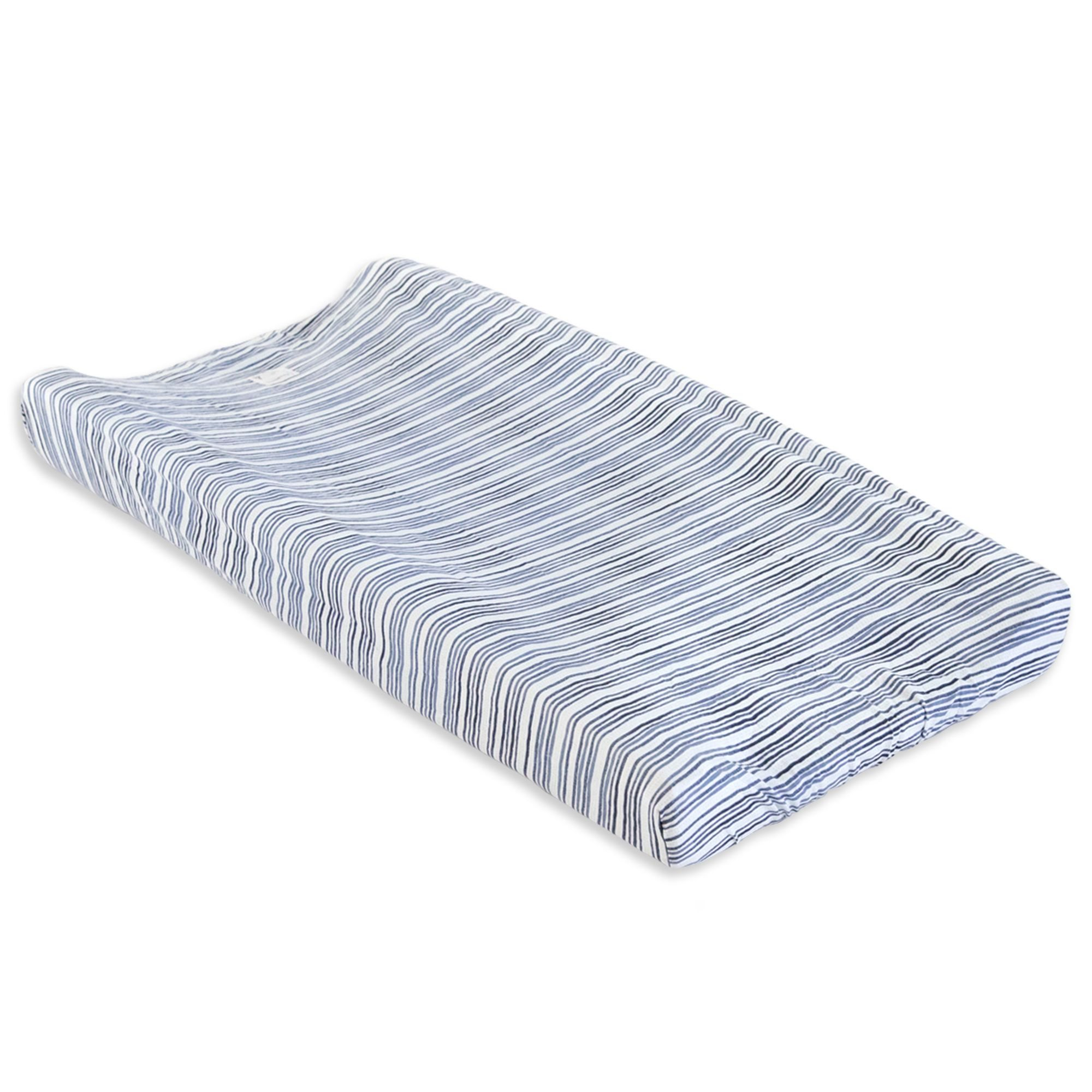 Watercolor Stripe On The Road Organic Cotton BEESNUG™ Fitted Changing Pad Cover