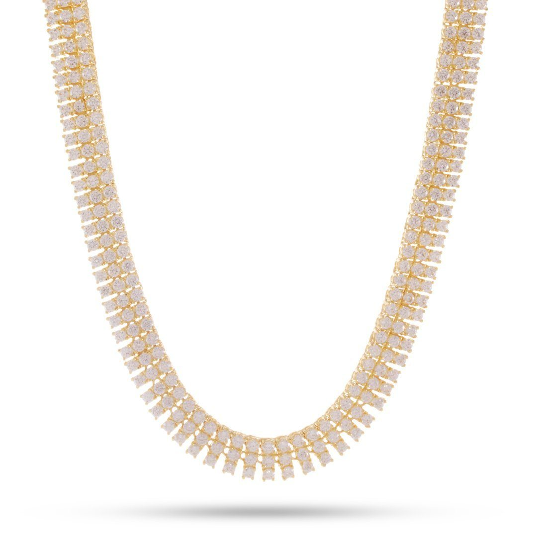 Image of 3 Row 14K Gold Tennis Necklace