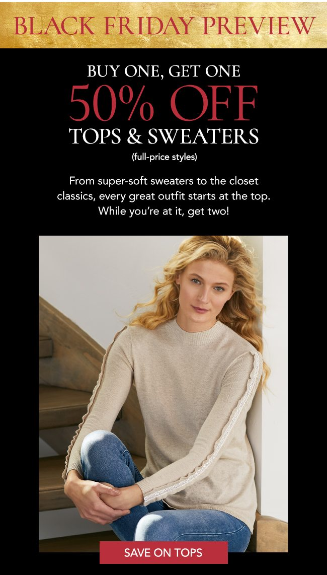 Buy one get one 50% tops and sweaters