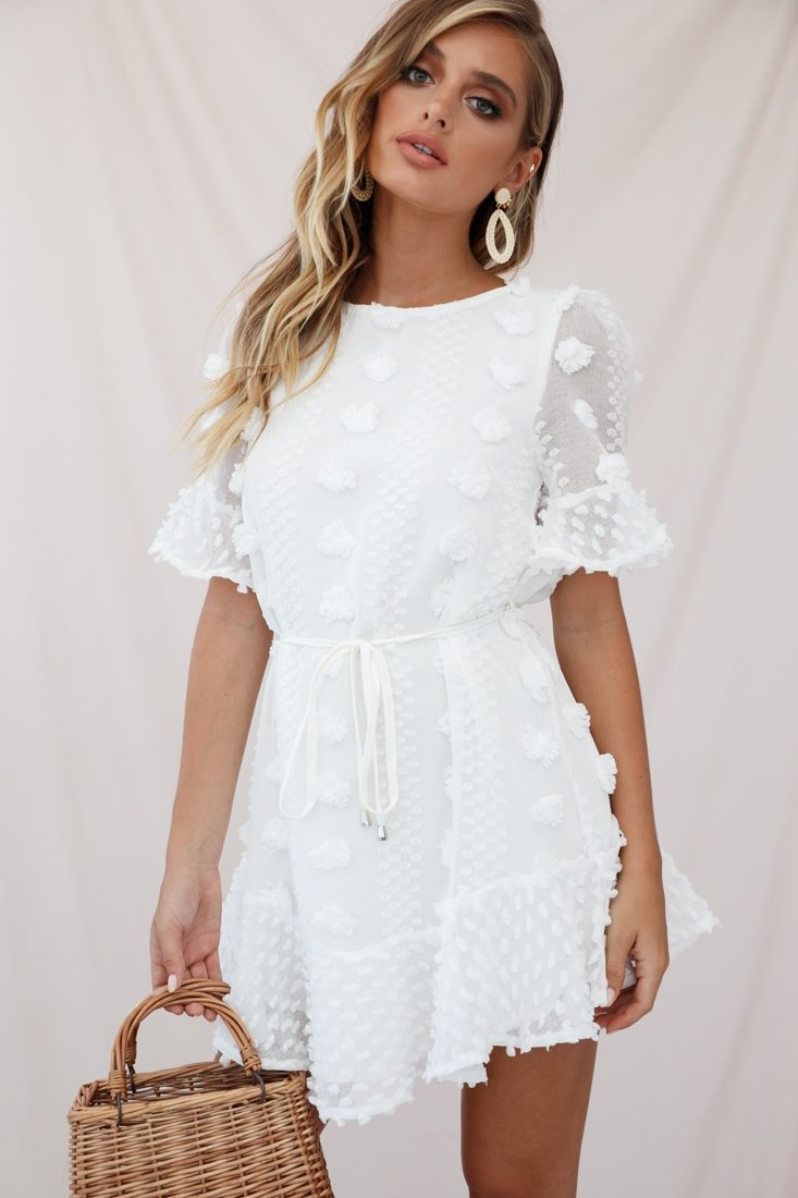 Maleny Embellished Fluted Hem Dress White