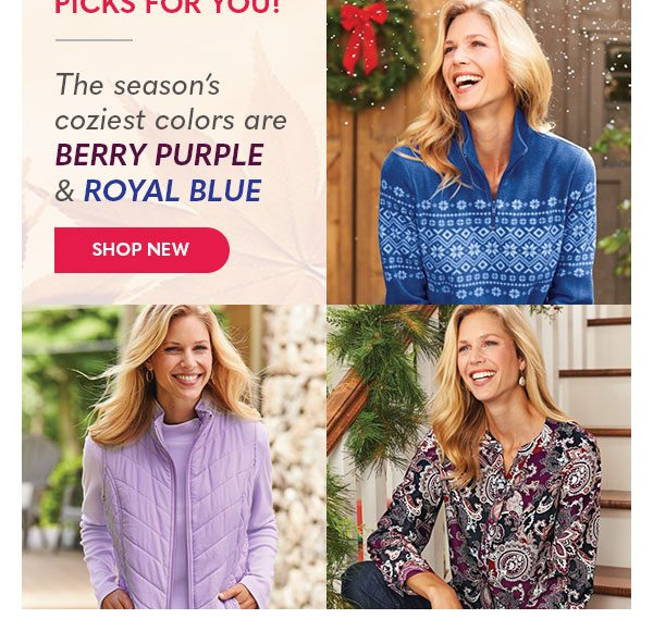 The season's coziest colors are Berry Purple & Royal Blue