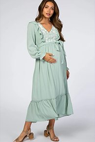 Shop The Mint Floral Embroidered Ruffled Maternity Midi Dress