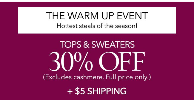 Tops and sweaters 30% off. $5 shipping.