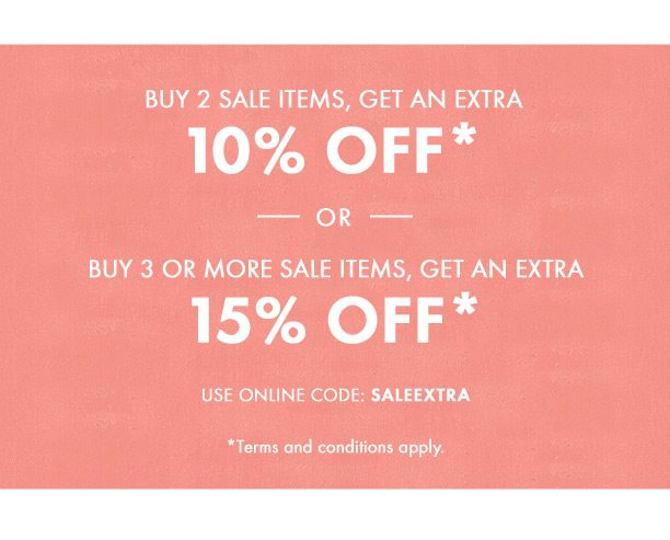 Buy 2 items on sale, get an extra 10% off