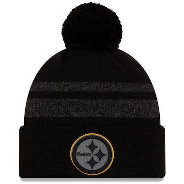 Pittsburgh Steelers New Era Dispatch Cuffed Knit Hat With Pom - Black