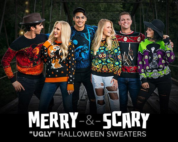 "Merry & Scary. NEW ""Ugly"" Halloween Sweaters"