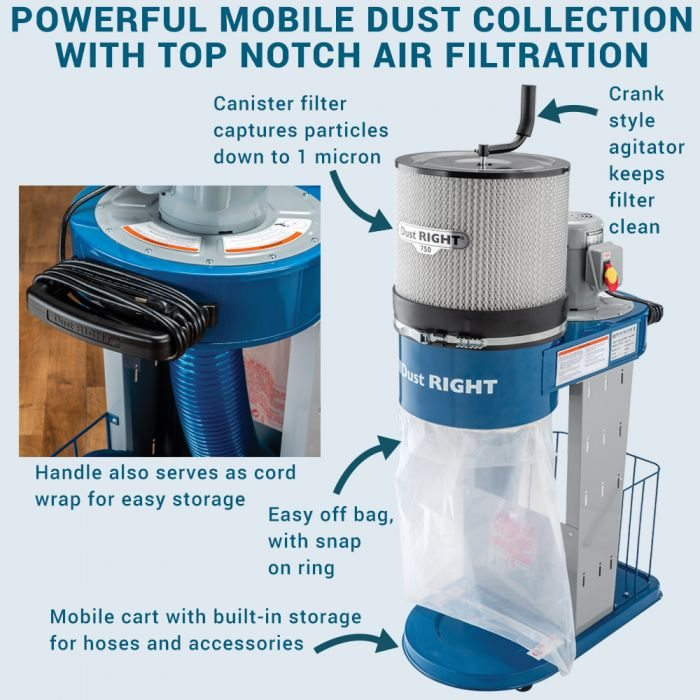 Dust Right 750 CFM Mobile Dust Collector - Powerful Mobile Dust Collection with Top Notch Air Filtration - Buy Now