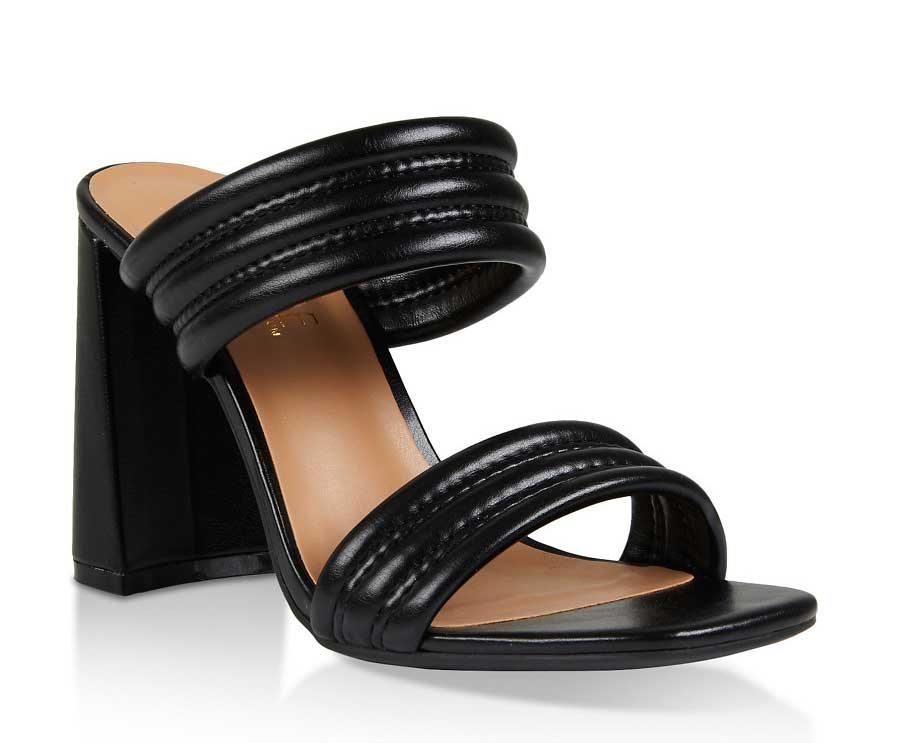 Two Band High Heel Slide Sandals