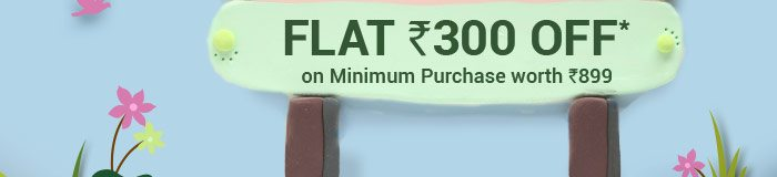 Flat Rs. 300 OFF* on Minimum Purchase worth Rs. 899