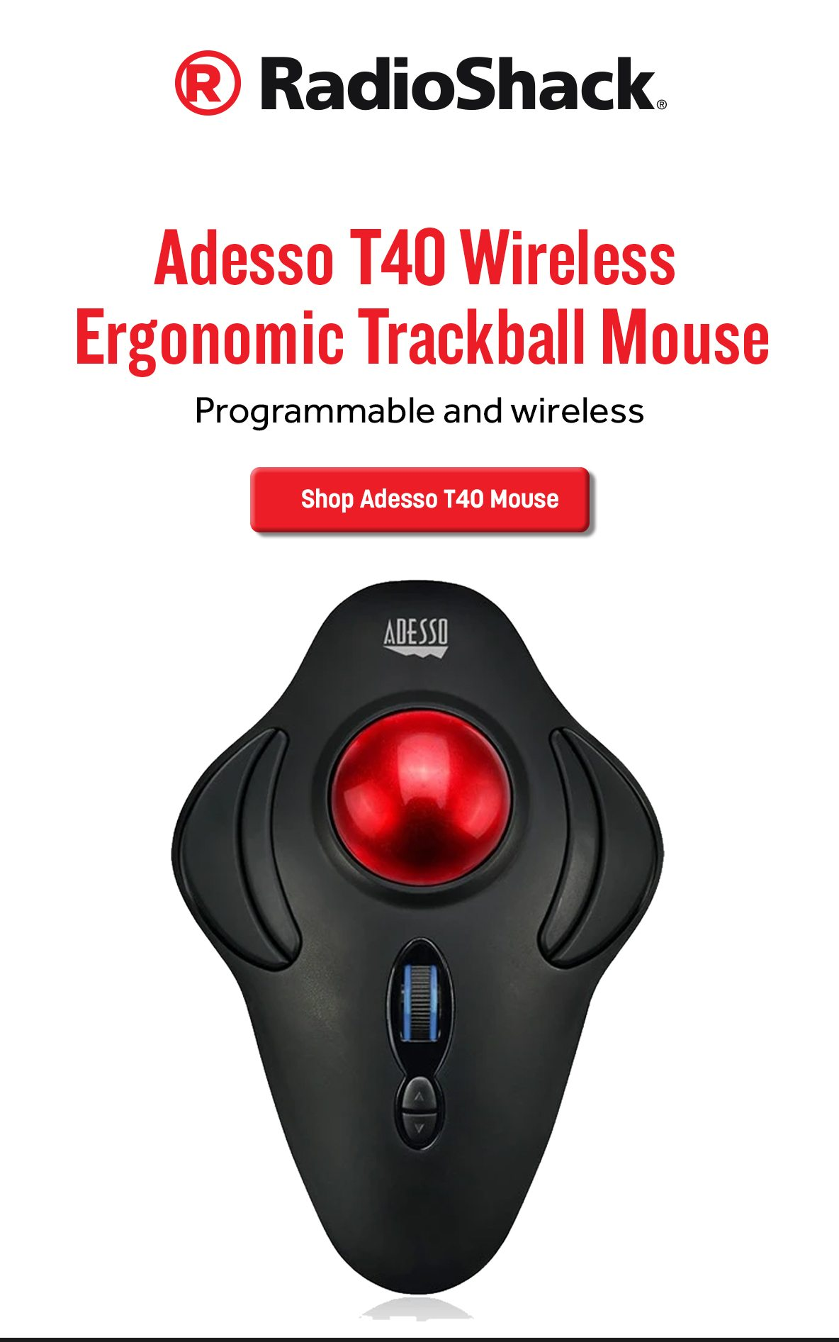 Adesso iMouse T40 Wireless Programmable Ergonomic Trackball Mouse