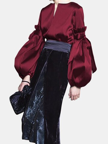 Puff Sleeve Silky Loose Blouse