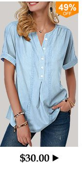 Button Front Roll Sleeve Split Neck Denim Blouse