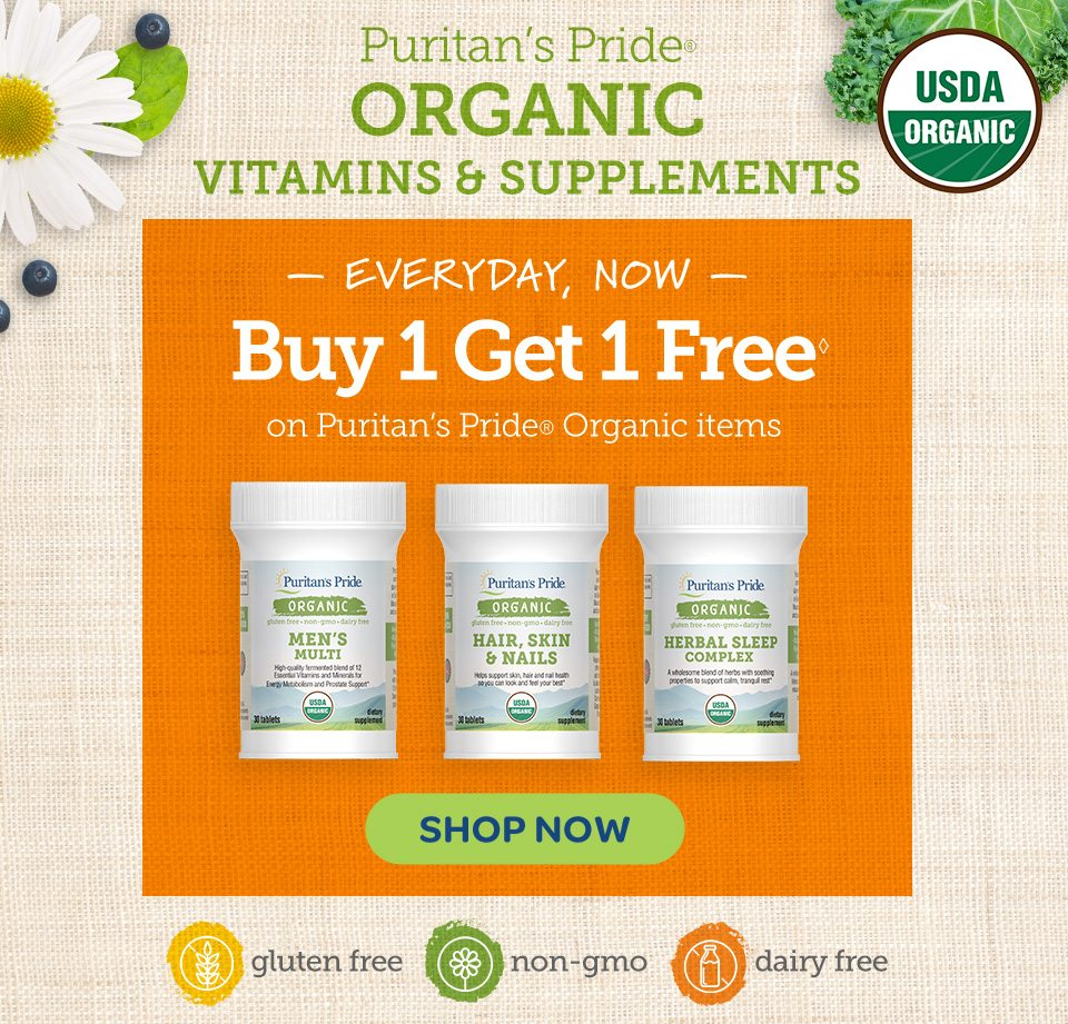 Puritan's Pride® Organic Vitamins and supplements. Everyday now: Buy 1 get 1 free◊ on Puritan's Pride® Organic items. Shop now.
