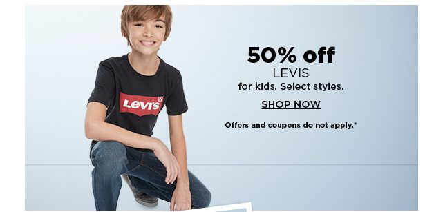 50% off levi's for kids. shop now.