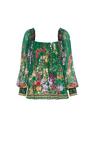 SHIRRED BODICE BLOUSE DIARIES FROM A VILLA