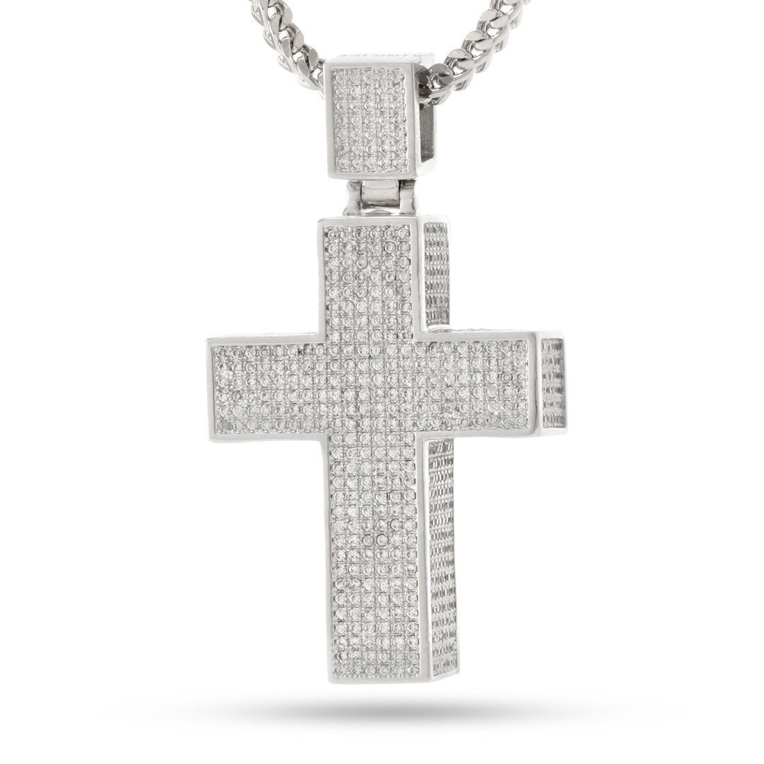 Image of White Gold Stash Cross Necklace