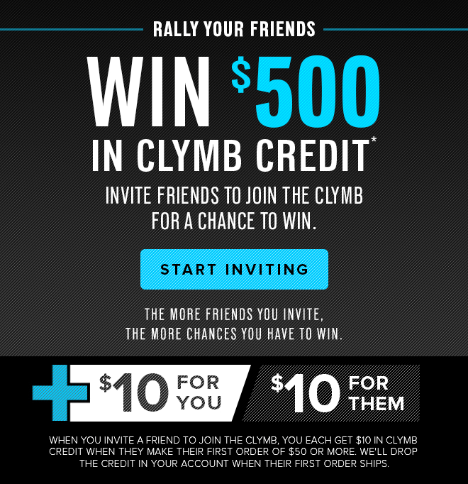 Win $500 in Clymb Credit* - Start Inviting
