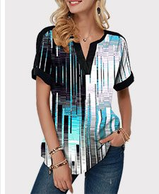 Split Neck Curved Hem Geometric Print Blouse